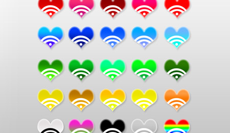 RSS heart PNG Icons