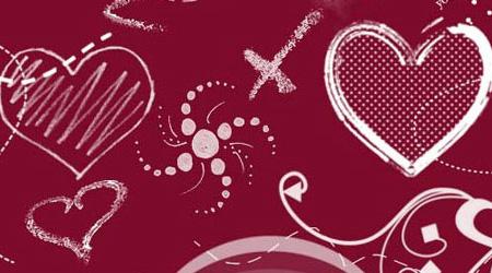 lovely heart doodle brush