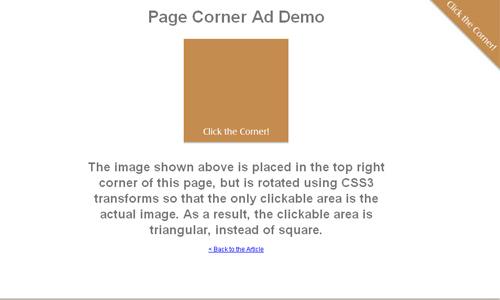 page corner ads