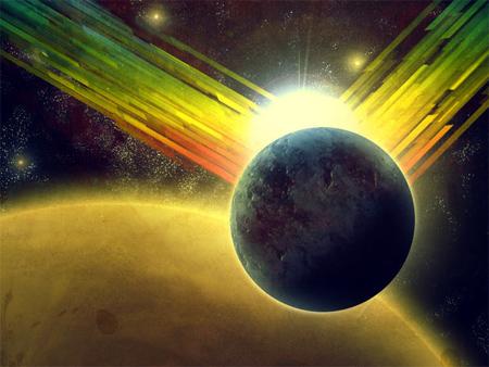 Retro Planets Wallpaper