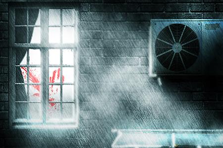 dark and rainy crime scene