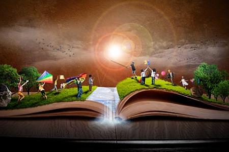 book of magical playground scene