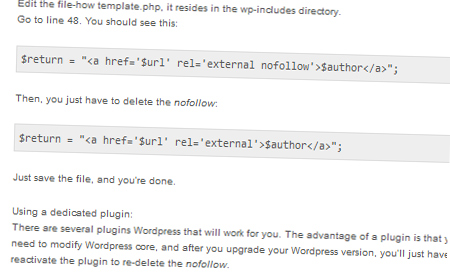 Getting Rid Of The Nofollow Attribute On WordPress Blog