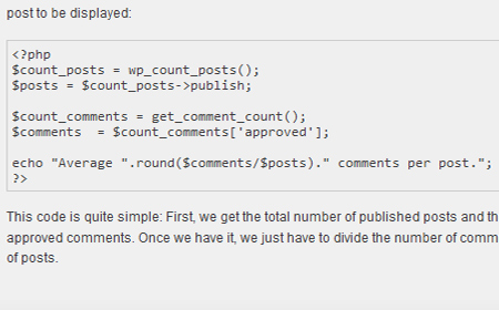 How to: Display your average comments per post