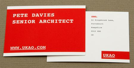 red minimalist architecture business card