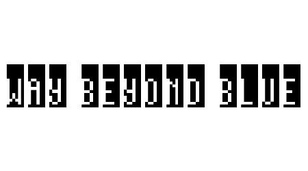 Way beyond blue pixel font