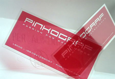 clear plastic business card