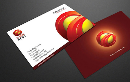 e-vision news red business card