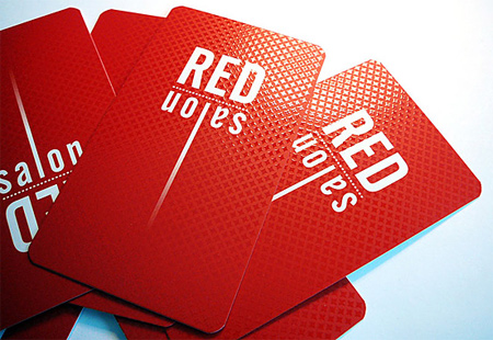red salon business card