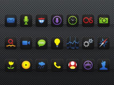 Black Neon Agua:iPhone Theme