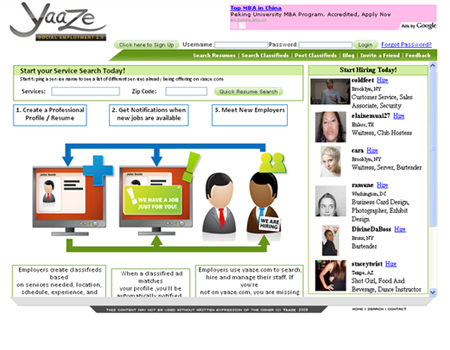 yaaze is a virtual resume and social employment site which lets users find job opportunities in their vicinity