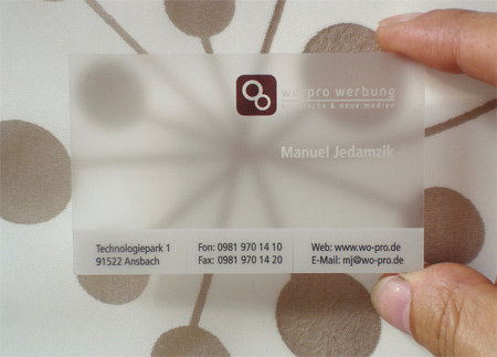 4 Translucent Frosted Plastic Business Card