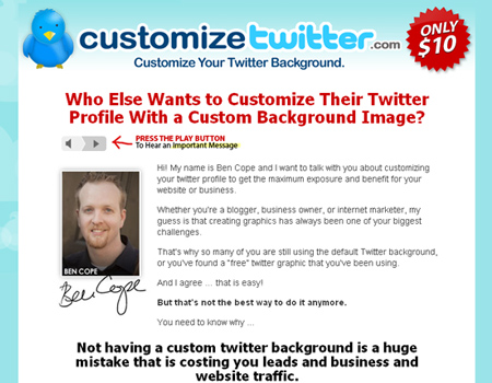 CustomizeTwitter.com provides a tool to customize the look of your Twitter background.