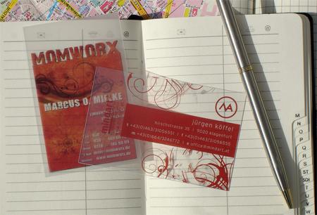 Translucent and Crystal Clear Business Cards - Transparente Visitenkarten von Momworx und Mindart
