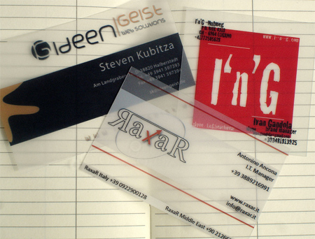 Transparente Visitenkarten aus PVC - Translucent Plastic Business Cards