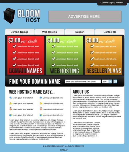 Design a Hosting Website/Layout in Photoshop