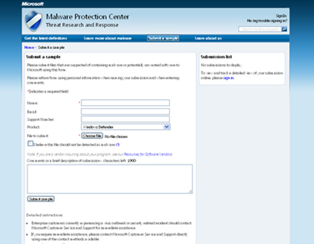 Microsoft Malware Protection Center