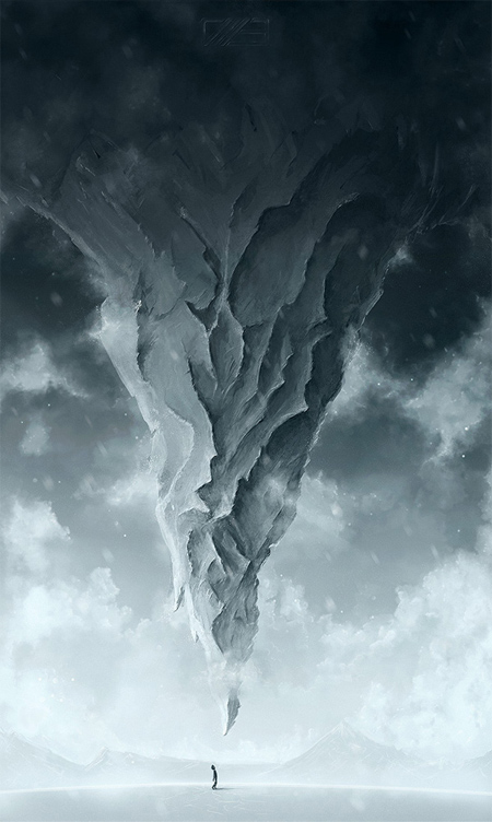 Create a Surreal Upside Down Mountain Painting in Photoshop