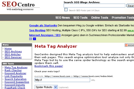 SEO Centro - Meta Tag Analyzer