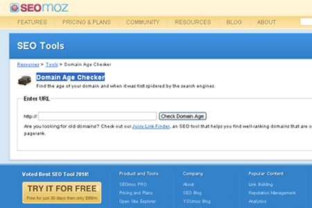 SEOmoz - Domain Age Checker