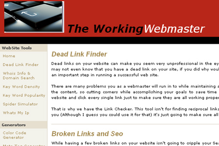 The WorkingWebmaster - Dead Link Checker