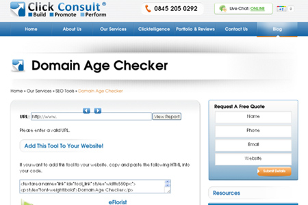 Click Consult - Domain Age Checker