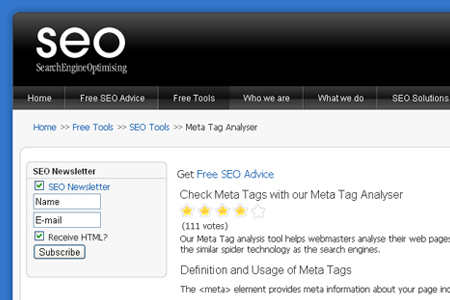 SearchEngineOptimising.com - Meta Tag Analyser