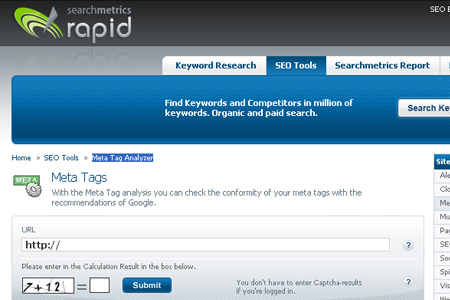 Search Metrics Rapid - Meta Tag Analyzer