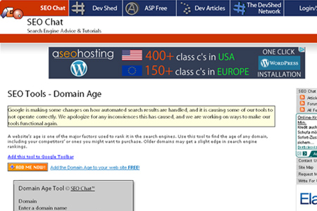 SEO Chat - Domain Age Tool