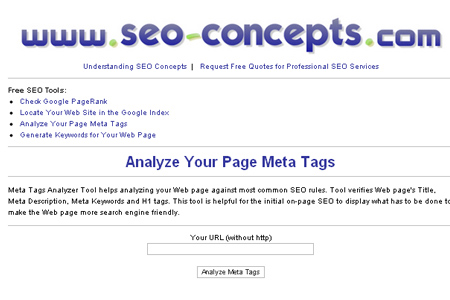SEO-Concepts.com - Meta Tags Analyzer Tool