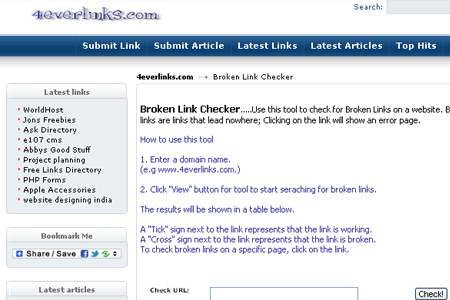 4everlinks.com - Broken Link Checker