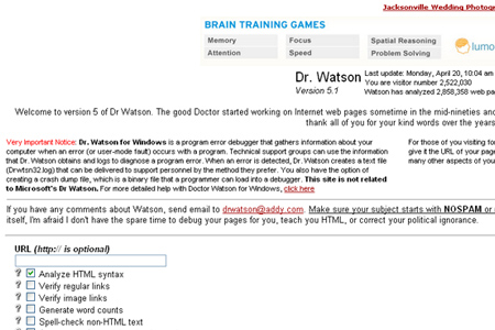 Dr. Watson's site validation check