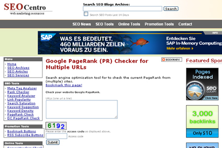 SEOCentro - Google PageRank (PR) Checker Tool