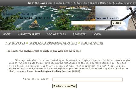 KeywordAddUrl.com - Meta Tag Analyzer Tool