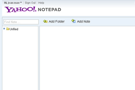 yahoo notepad
