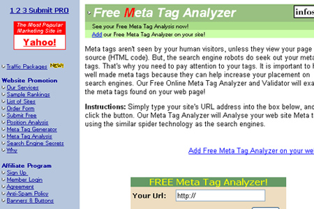 Website Submit - Free Meta Tag Analyzer