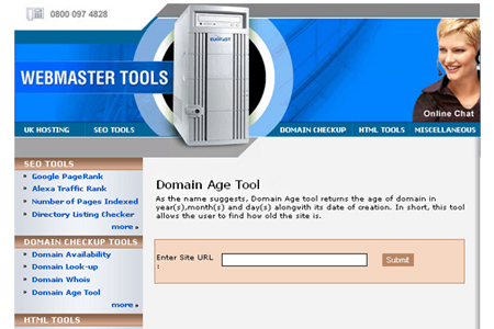 Business Website Hosting Tools - Domain Age tool