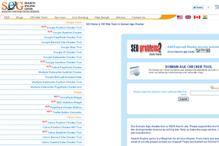 Search Engine Genie - Domain Age Checker Tool