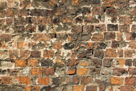 Brick Damaged Medieval Old wall