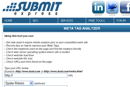 Submit Express - Meta Tag Analyzer