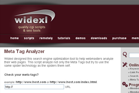 widexl - Meta Tag Analyzer