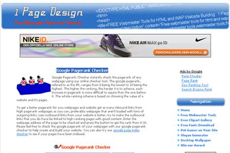 1 Page Design - Google Pagerank Checker