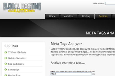 Global Hosting Solutions - Meta Tags Analyzer