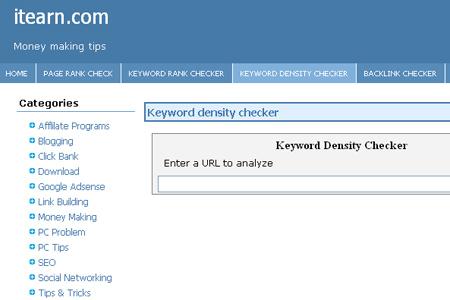 Itearn.com - Keyword Density Checker