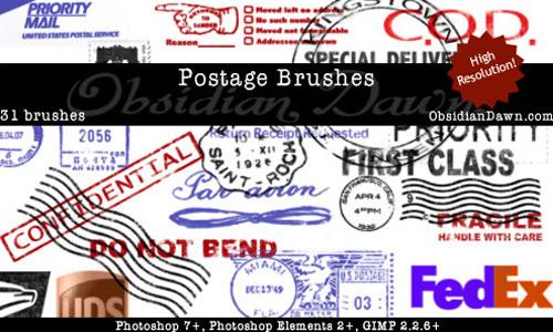Postage Photoshop Brushes