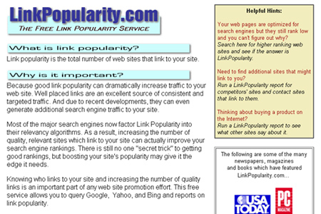 LinkPopularity.com - Backlink Checker