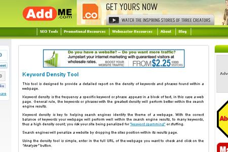 Addme.com - Keyword Density Tool