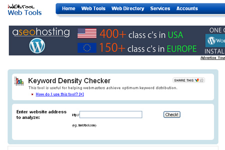 iWebTool.com - Keyword Density Checker