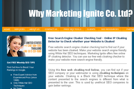 Marketing Ignite - cloaking checker