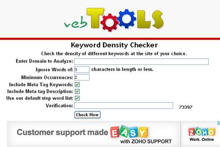 VebTools - Keyword Density Checker